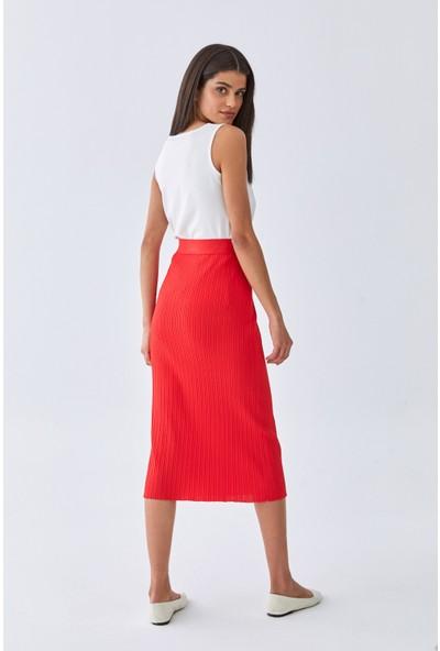 Triko Mısırlı Kadın Etek W20S A012 Et107 Kırmızı