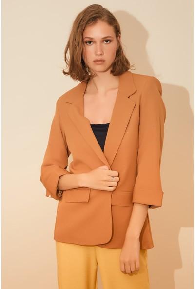 Reyon Kol Incili Kadın Blazer Ceket Taba