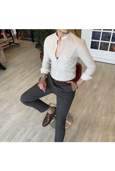 Terzi Adem Italyan Stil Slim Fit Erkek Hakim Yaka Gömlek Krem T4854