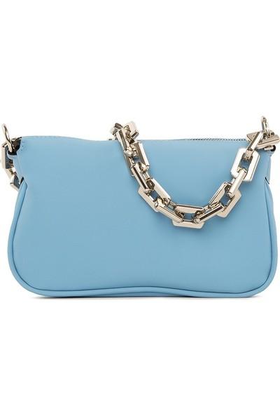 Bagmori Mavi Plastik Zincirli Saten Baget Çanta