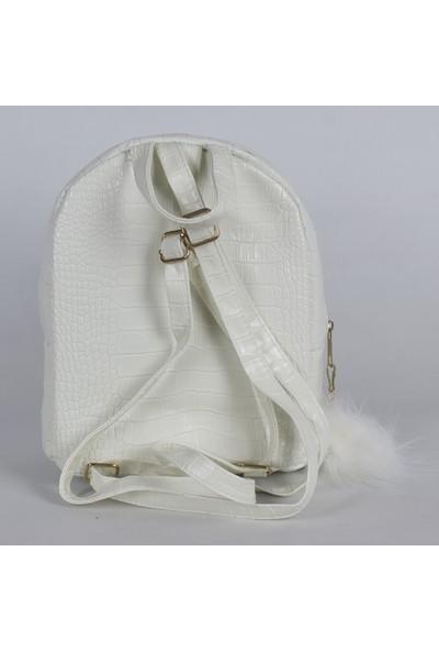 Bagacar Ponponlu Küçük Sırt Çantası Kroko Beyaz