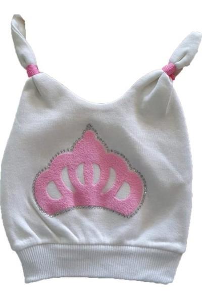 Akyüz Bebe Kız Erkek Bebek Taç Baskılı 0-6 Ay Şapka Pembe