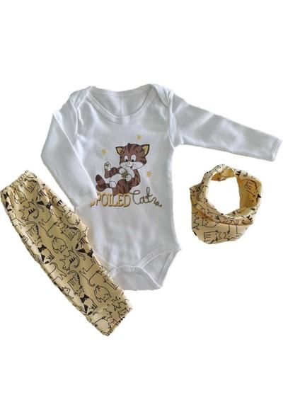 Zem Baby Kız Bebek Kedi Baskılı Fularlı 3-9 Ay Zıbınlı Ikil