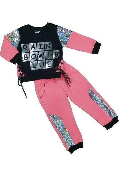 Pakel Kız Bebek Rainbow Yazılı Pullu Üç Iplik İkili Takı