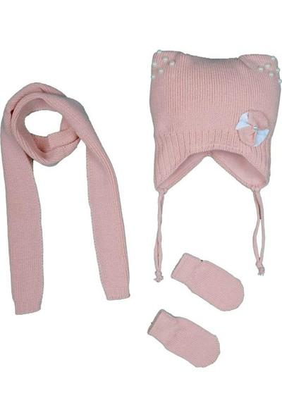 Kitti Kız Bebek 0-18 Ay Incili Atkı-Bere-Eldiven Takımı