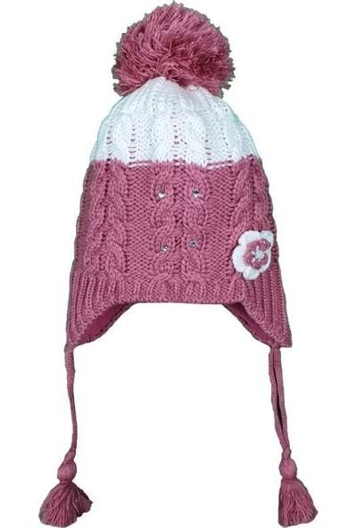 Kitti Kız Çocuk 1-4 Yaş Çiçek Modelli Ponponlu Şapka