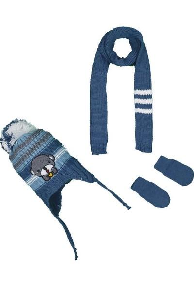 Kitti Erkek Bebek 0-18 Ay Ayılı Atkı-Bere-Eldiven Takımı