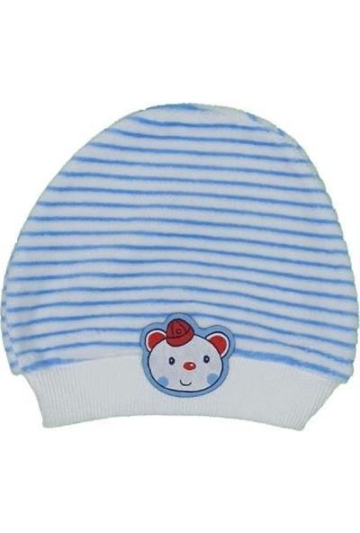 Akyüz Bebe Kız-Erkek Bebek Ayı Modelli Çizgili Bere