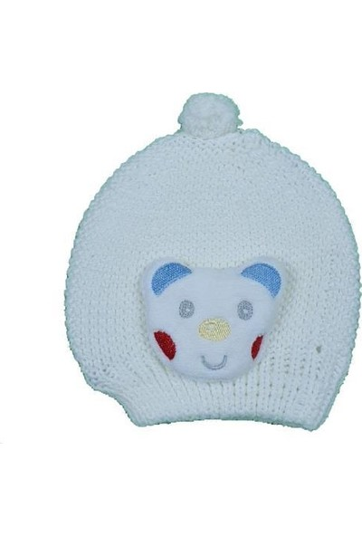 Akyüz Bebe Kız-Erkek Bebek Ayı Modelli Triko Şapka
