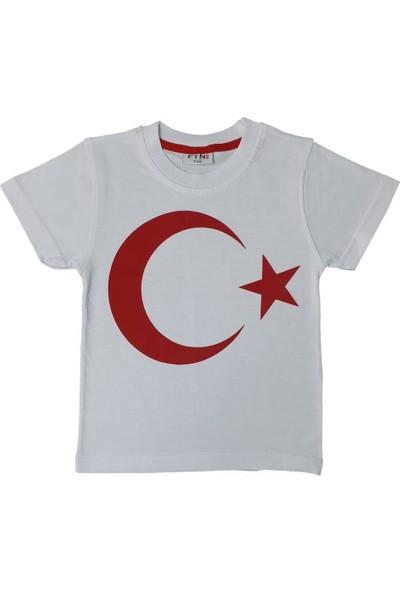 Markacity Kız-Erkek Çocuk Bayrak Modelli T-Shirt