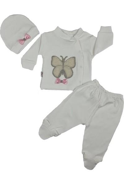 İzge Bebe Kız Bebek Incili Kelebek Modelli Taşlı 2'li Takım