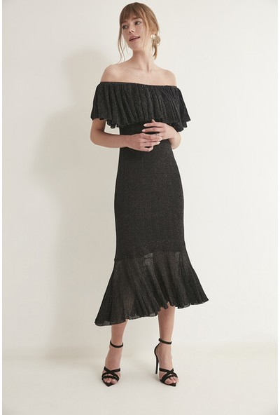 Join Us Simli Volanlı Arkası Çapraz Bantlı Astarlı Elbise