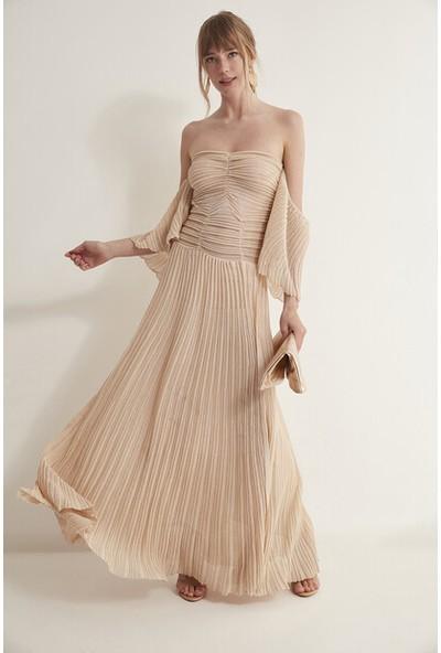 Join Us Straplez Fırfırlı Simli Astarlı Triko Elbise