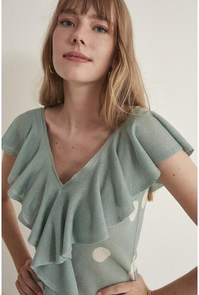 Join Us Puantiyeli Fırfırlı V Yaka Triko Elbise-Mint