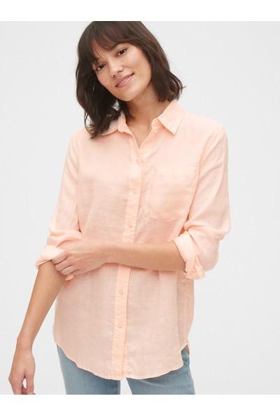 Gap Kadın Boyfriend Keten Gömlek
