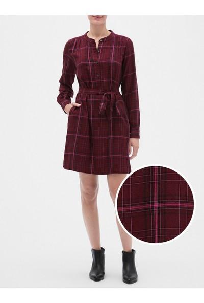 Gap Kadın Ekose Uzun Kollu Gömlek Elbise