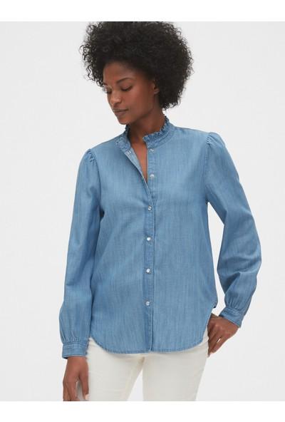 Gap Kadın Fırfır Yakalı Denim Gömlek