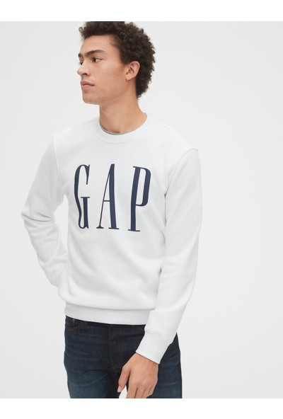 Gap Erkek Logo Düz Yakalı Sweatshirt