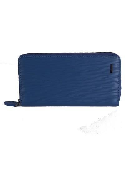Grande 1596 Telefon Bölmeli Deri Kartlık Yol Mavi