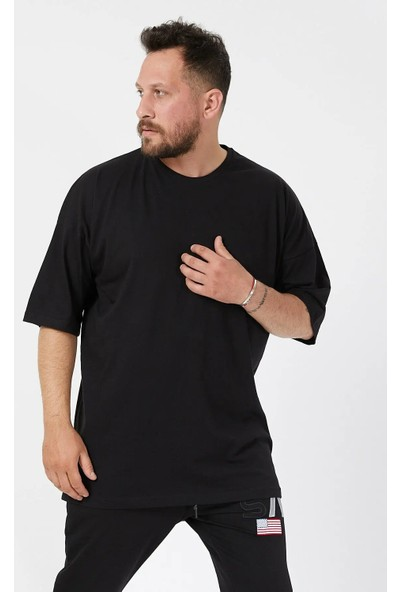 Densmood Düz Basic Pamuklu Oversize Kesim T-Shirt