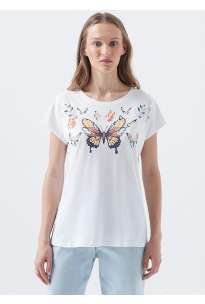Kelebek Baskılı Beyaz Tişört 168778-620