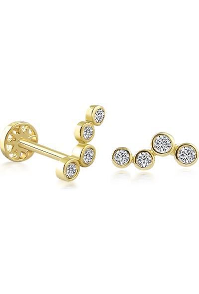 Yapar Jewellery 14 Ayar Altın Asimetrik 4 Taşlı Kulak Piercing