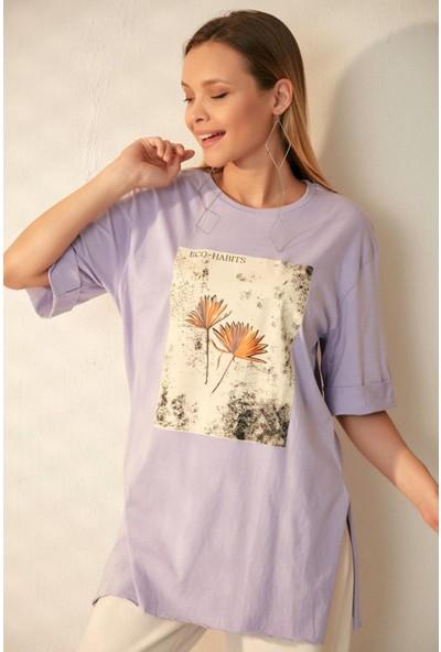 Morpi̇le Yırtmaçlı Boyfriend T-Shirt