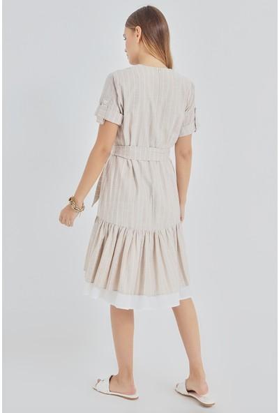 Pastelastore Asude Çizgili Pamuk Elbise