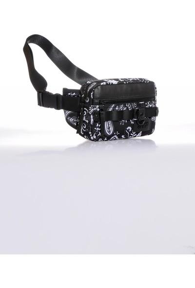 Versace J. Couture E1 YZAB12 Siyah Yazılı Erkek Bel Çantası