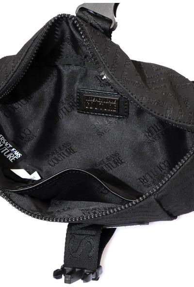 Versace J. Couture E1 YZAB96 Siyah Yazılı Erkek Bel Çantası