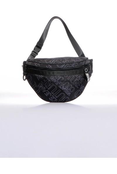 Versace J. Couture E1 YZBB56 Siyah Yazılı Erkek Bel Çantası