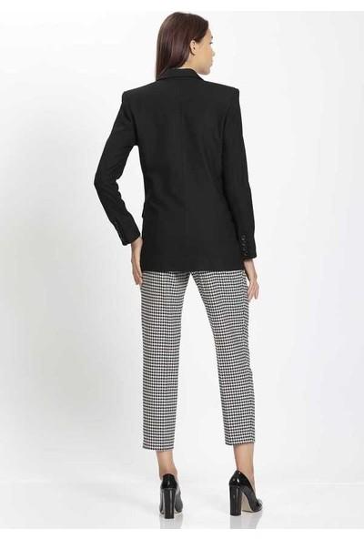 Vitrin Yüksek Bel Kaz Ayağı Desenli Kemerli Dar Paça Pantolon