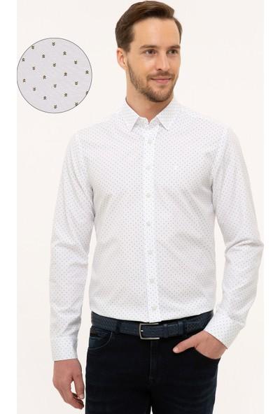 Pierre Cardin Erkek Yeşil Detaylı Beyaz Slim Fit Gömlek 50227394-Vr054