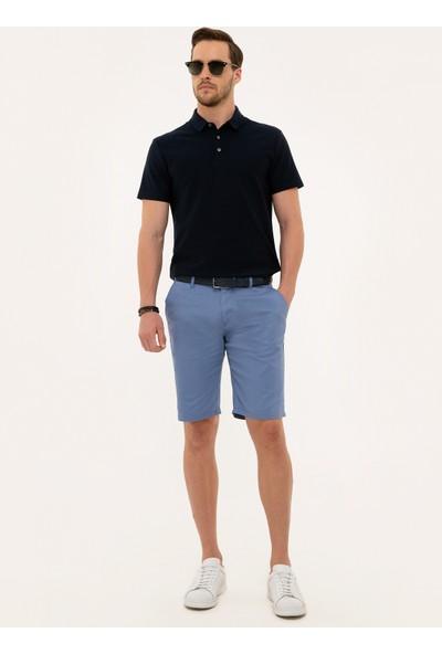 Pierre Cardin Erkek Mavi Standart Fit Bermuda Şort 50227590-Vr036