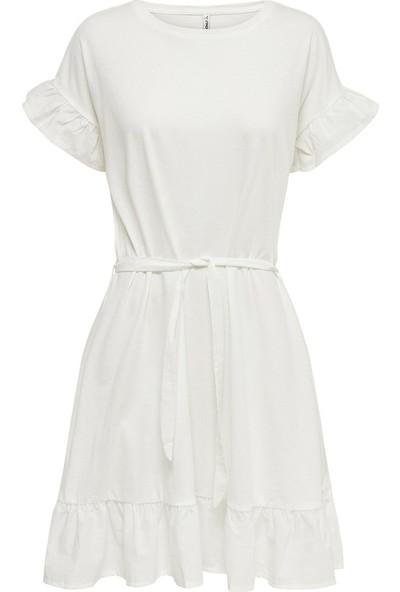 Only Sıfır Yaka Kolu Fırfırlı Beyaz Renk Elbise 15205134 15205134ONLYELBİSE XL