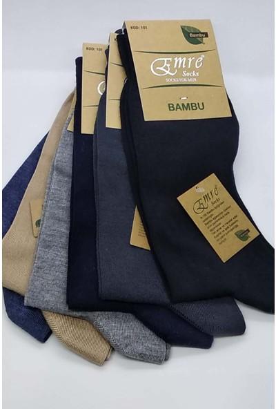 Emre Bambu Dikişsiz Erkek Çorap 6'lı Paket Karışık Renk Kod 101