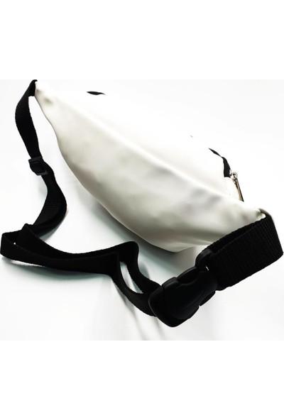 Sanal Bolluk Beyaz Renk Lüks Kumaş Şık Model Kadın Bel Çantası