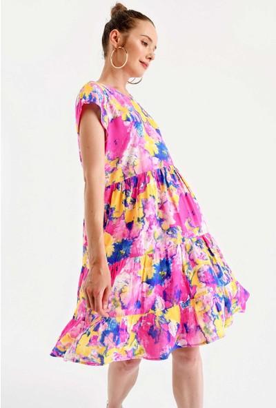 Bigdart 1979 Çok Renkli Viskon Elbise