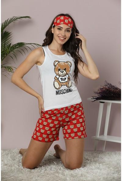 Calimera 20PJTSH001 Oyuncak Ayı Baskılı Kolsuz Şort Pijama Takımı