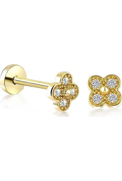 Yapar Jewellery 14 Ayar Altın Yonca Tragus Piercing