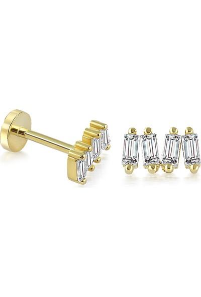 Yapar Jewellery 14 Ayar Altın 4'lü Baget Piercing