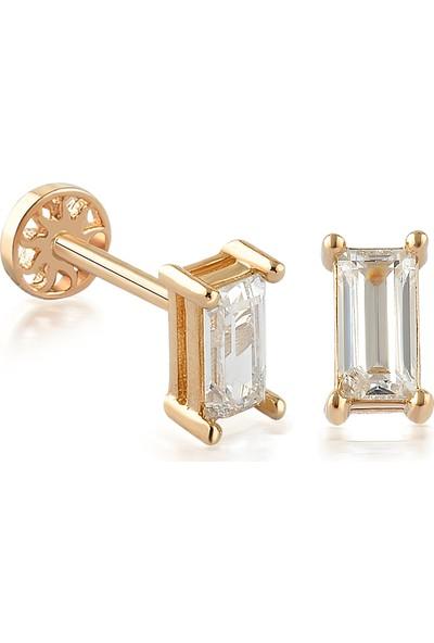 Yapar Jewellery 14 Ayar Altın Baget Tek Taş Tragus Piercing