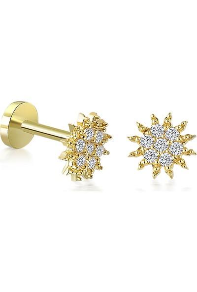 Yapar Jewellery 14 Ayar Altın Taşlı Güneş Tragus Piercing