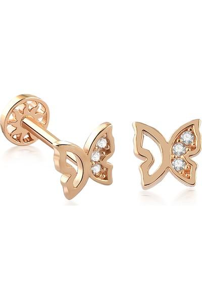 Yapar Jewellery 14 Ayar Altın Kelebek Tragus Piercing