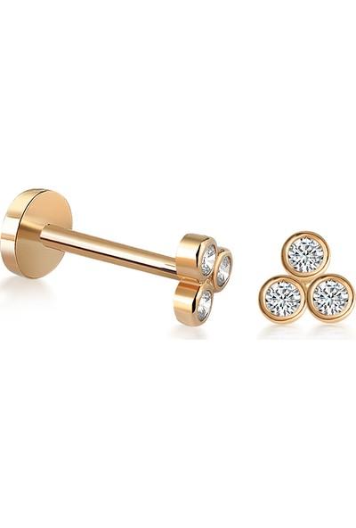 Yapar Jewellery 14 Ayar Altın 3 Taşlı Kulak Piercing