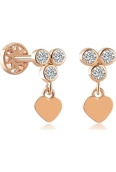 Yapar Jewellery 14 Ayar Altın Kalp Sallantılı Tria Kulak Piercing