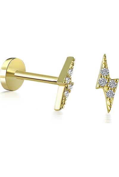 Yapar Jewellery 14 Ayar Altın Taşlı Yıldırım Kulak Piercing