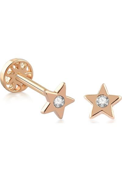 Yapar Jewellery 14 Ayar Altın Taşlı Tek Yıldız Kulak Piercing