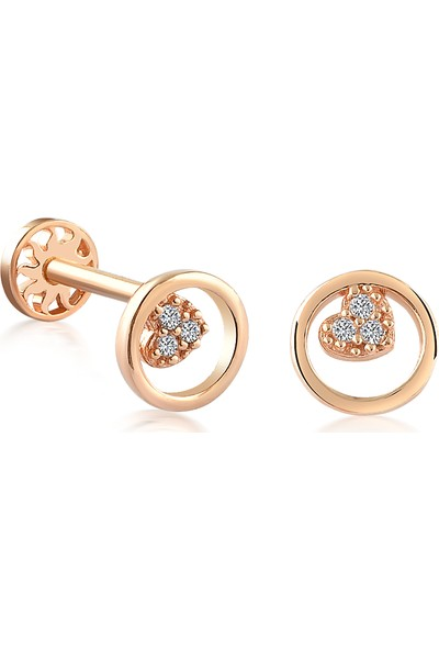 Yapar Jewellery 14 Ayar Altın Halka Kalp Kulak Piercing