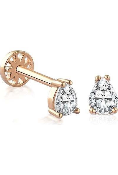 Yapar Jewellery 14 Ayar Altın Tırnaklı Damla Kulak Piercing